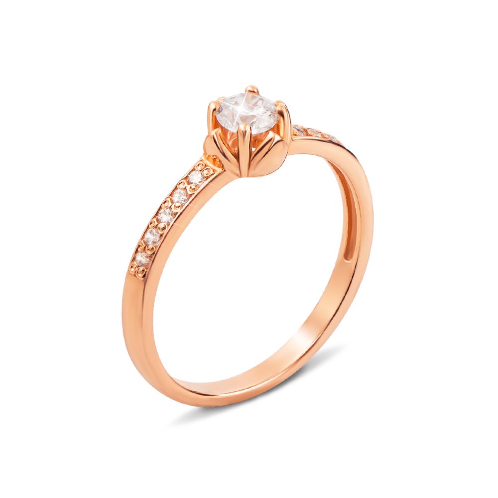 Золотое кольцо с фианитами. Артикул 12155 с