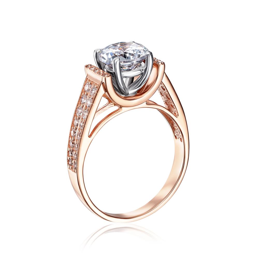 Золотое кольцо с фианитами. Артикул 12158