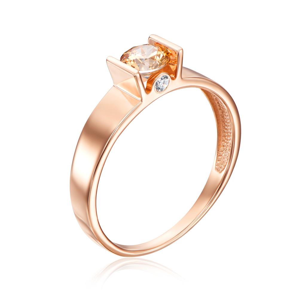 Золотое кольцо с фианитом Swarovski. Артикул 12159/01/0/1379