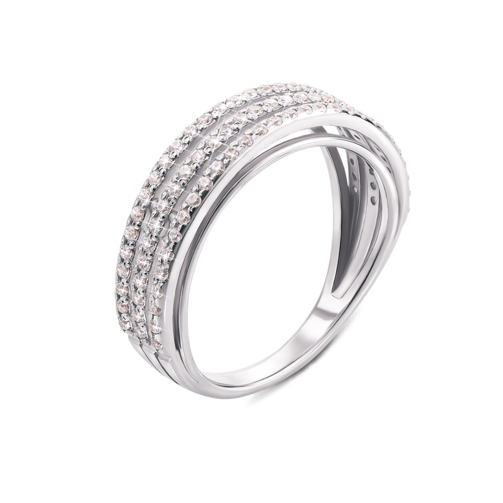 Золотое кольцо с фианитами. Артикул 12162/б