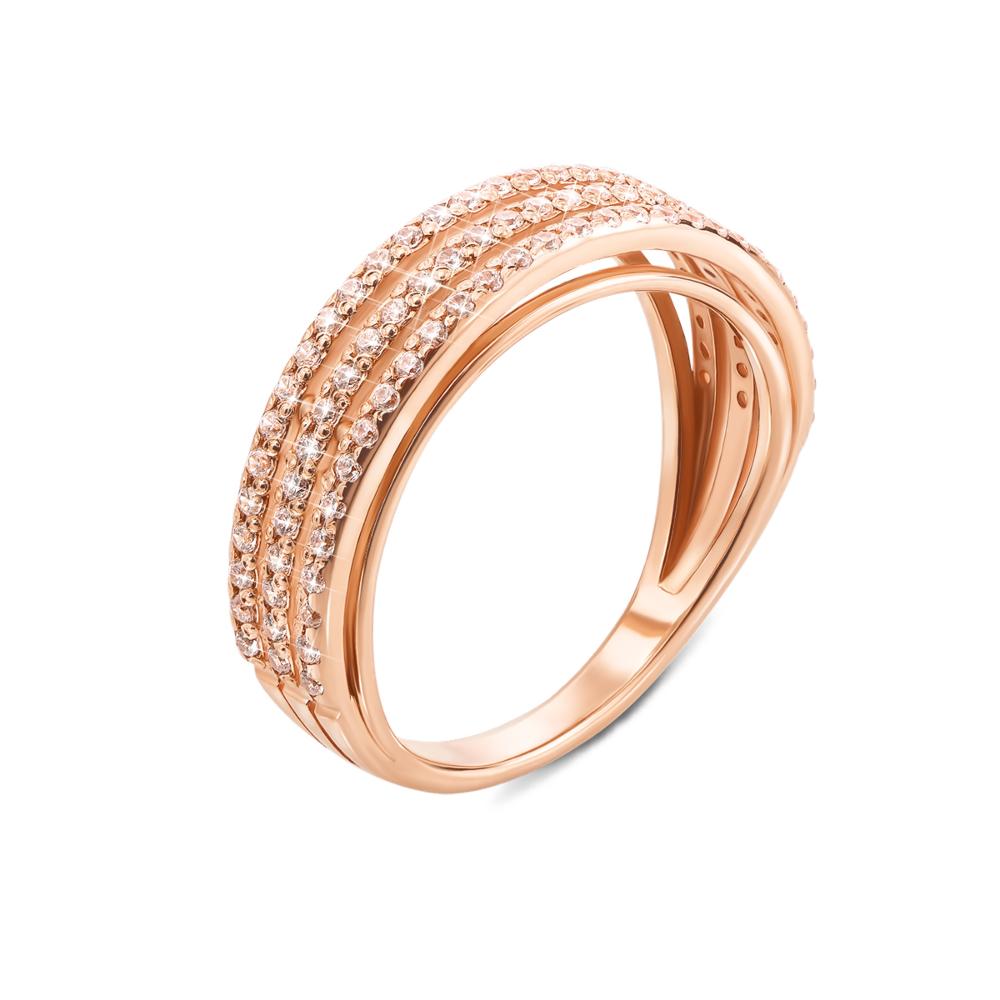 Золотое кольцо с фианитами. Артикул 12162