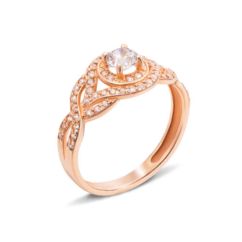 Золотое кольцо с фианитами. Артикул 12163 с