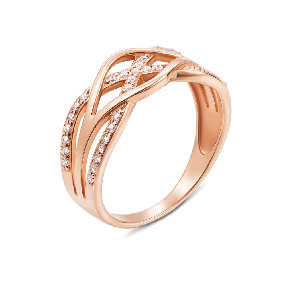 Золотое кольцо с фианитами. Артикул 12173 с