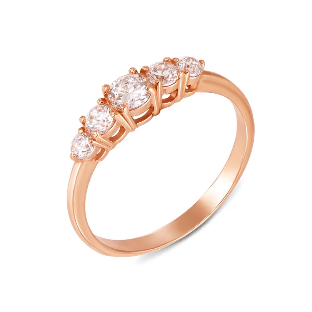 Золотое кольцо с фианитами. Артикул 12178