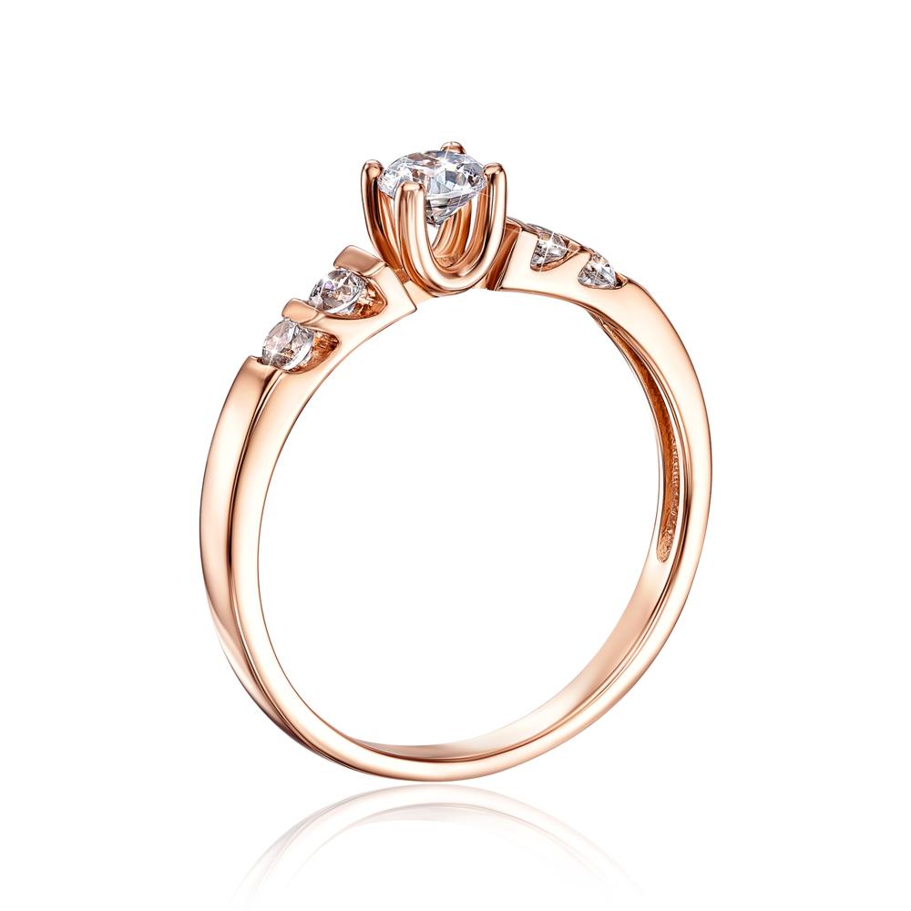 Золотое кольцо с фианитами. Артикул 12193
