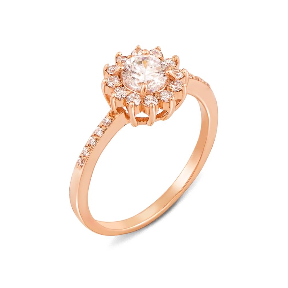 Золотое кольцо с фианитами. Артикул 12196 сп