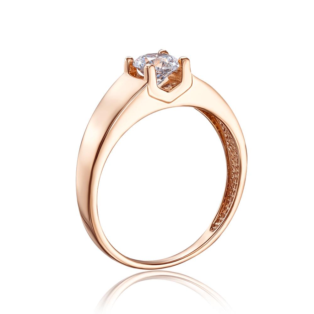 Золотое кольцо с фианитом. Артикул 12225