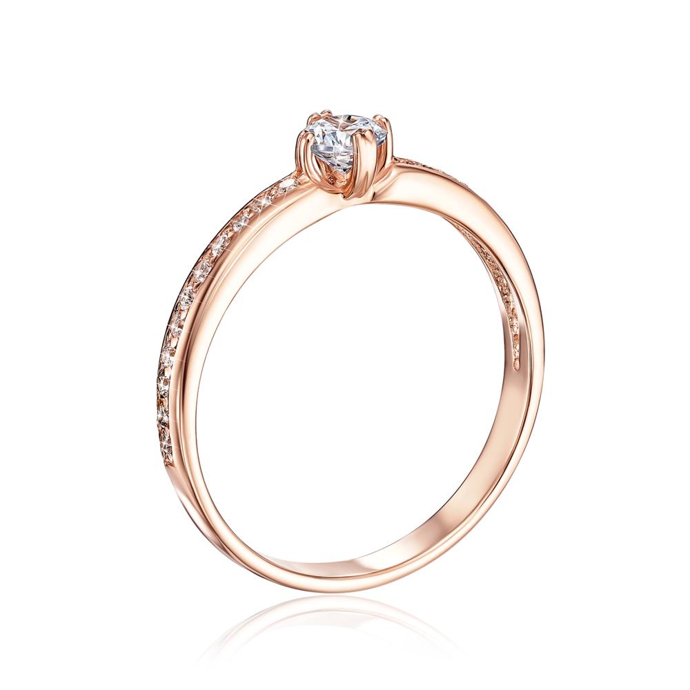Золотое кольцо с фианитами. Артикул 12234 сп