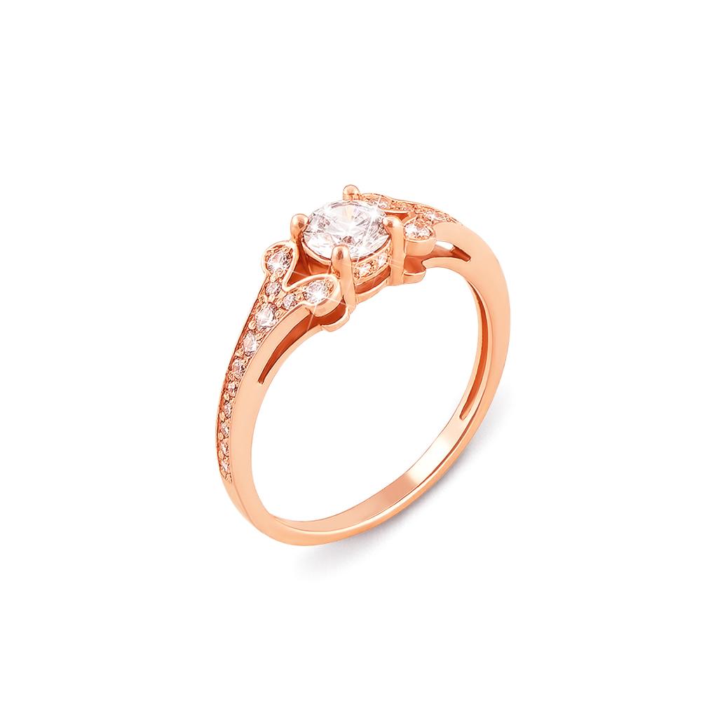 Золотое кольцо с фианитами. Артикул 12242