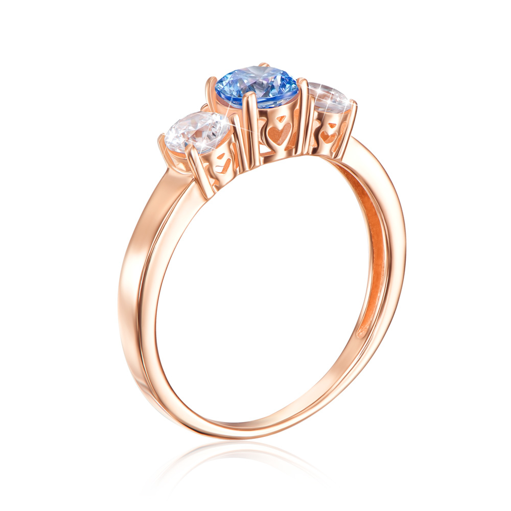 Золотое кольцо с фианитом Swarovski. Артикул 12245/01/0/1393