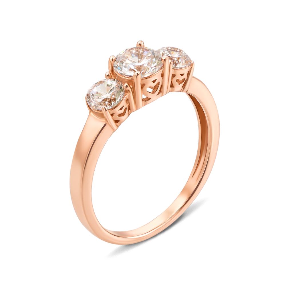 Золотое кольцо с фианитами. Артикул 12245