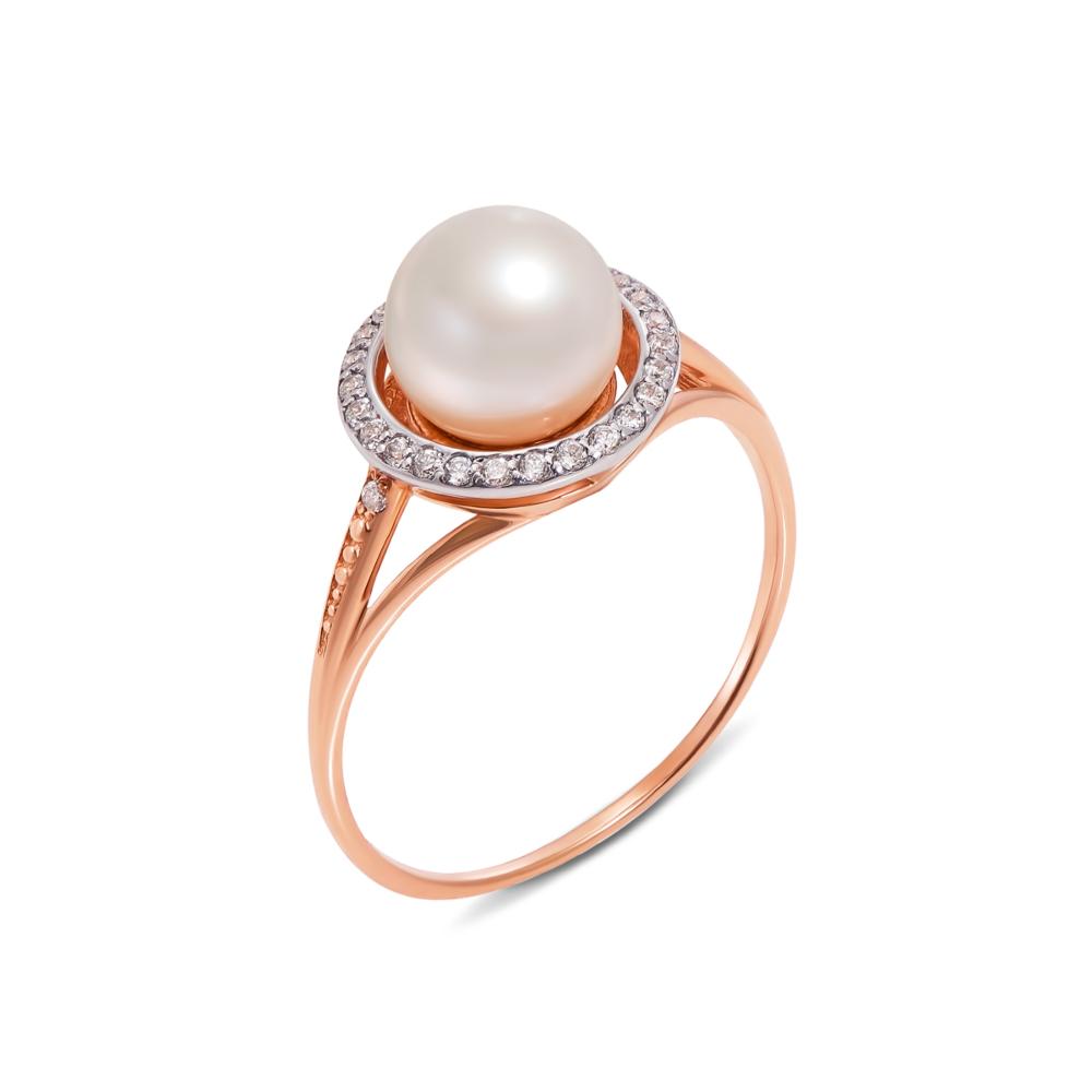 Золотое кольцо с жемчугом и фианитами. Артикул 12250
