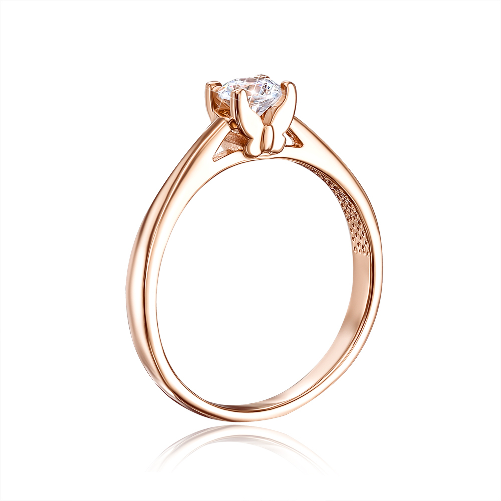 Золотое кольцо с фианитом Swarovski Zirconia. Артикул 12253/SW