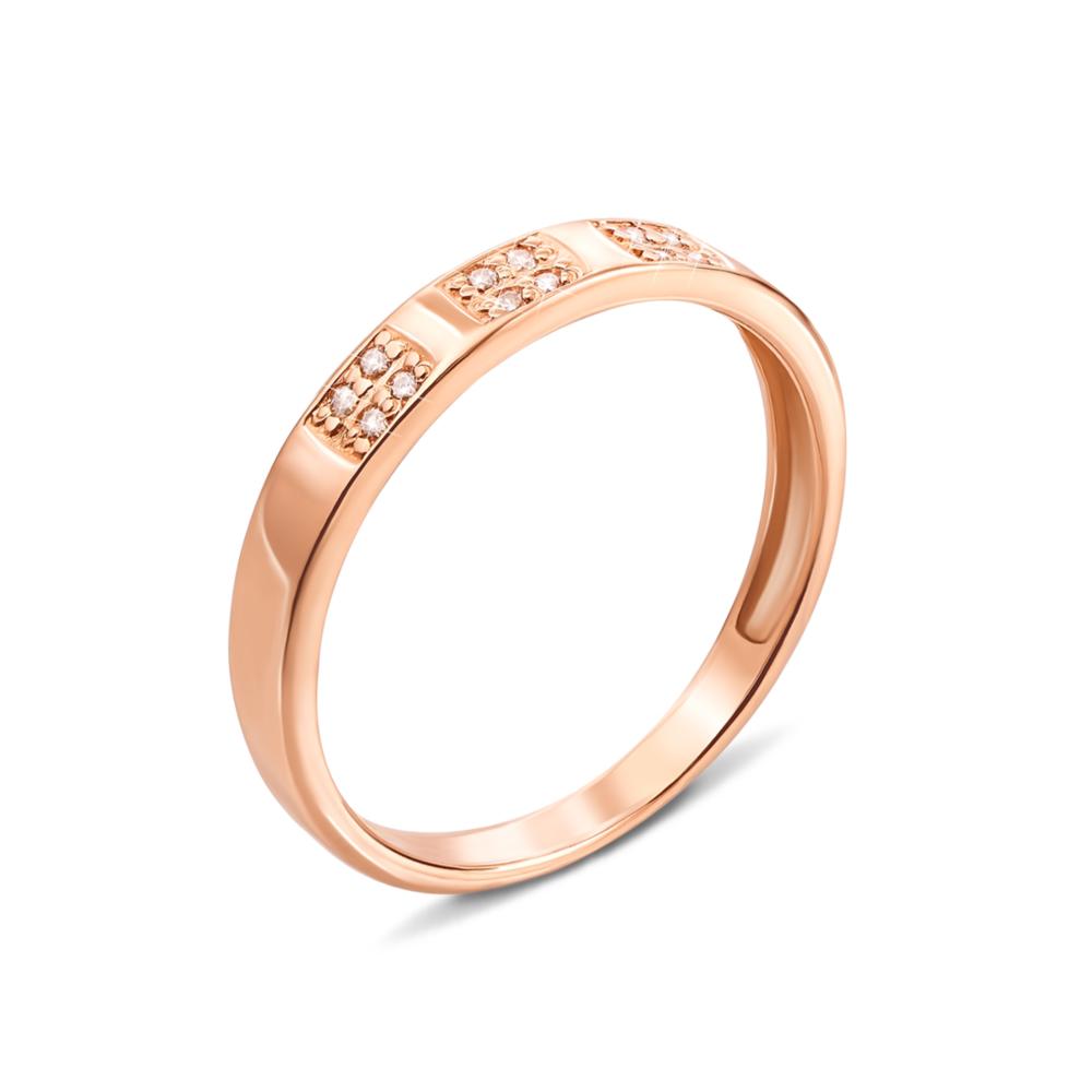 Золотое кольцо с фианитами. Артикул 12553