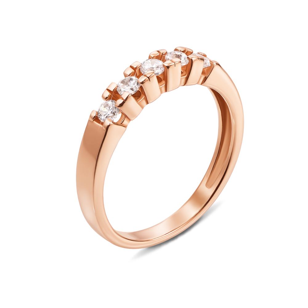 Золотое кольцо с фианитами. Артикул 12255