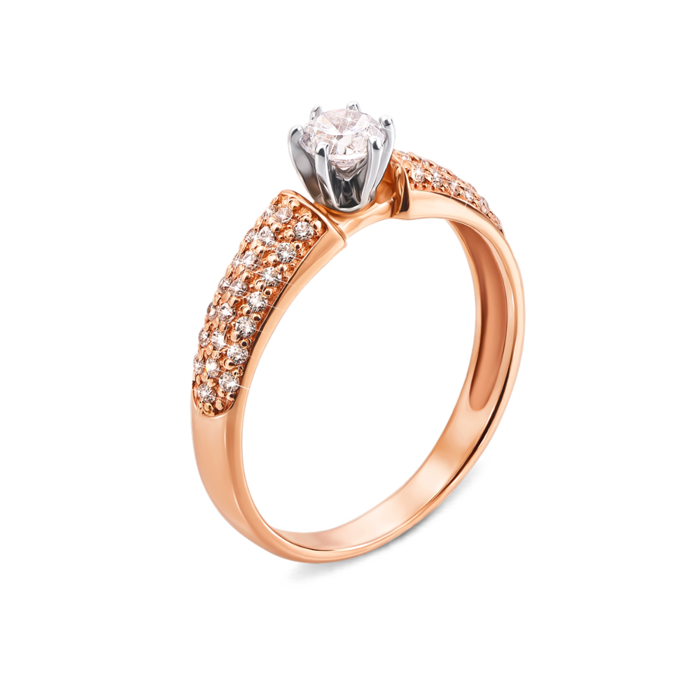 Золотое кольцо с фианитами. Артикул 12259