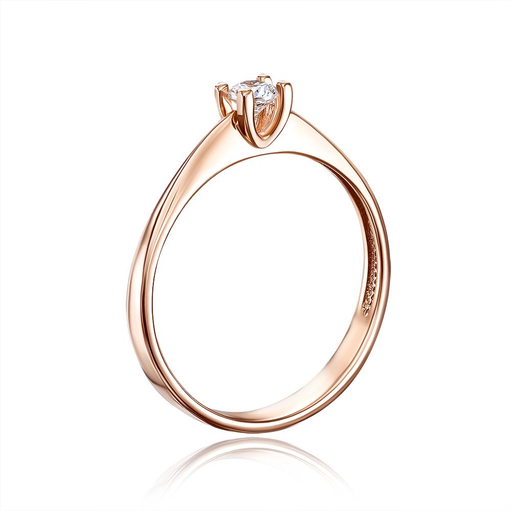 Золотое кольцо с фианитом. Артикул 12269