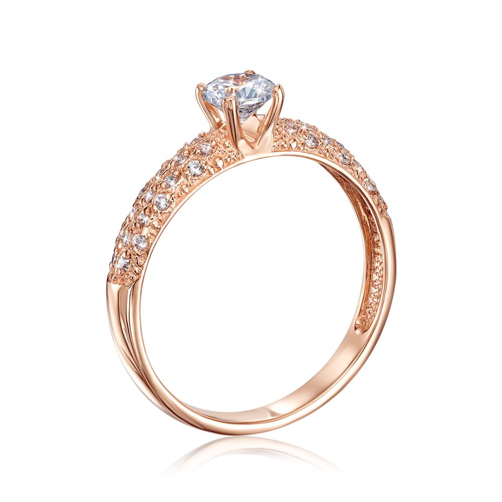 Золотое кольцо с фианитами. Артикул 12275