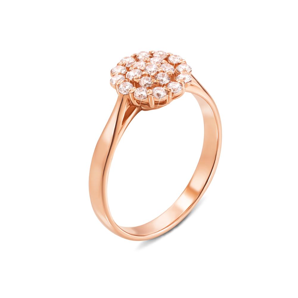 Золотое кольцо с фианитами. Артикул 12276 п