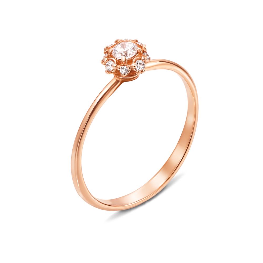 Золотое кольцо с фианитами. Артикул 12286 с