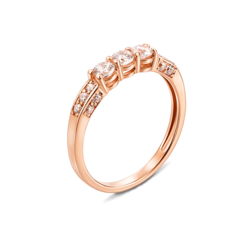 Золотое кольцо с фианитами. Артикул 12292