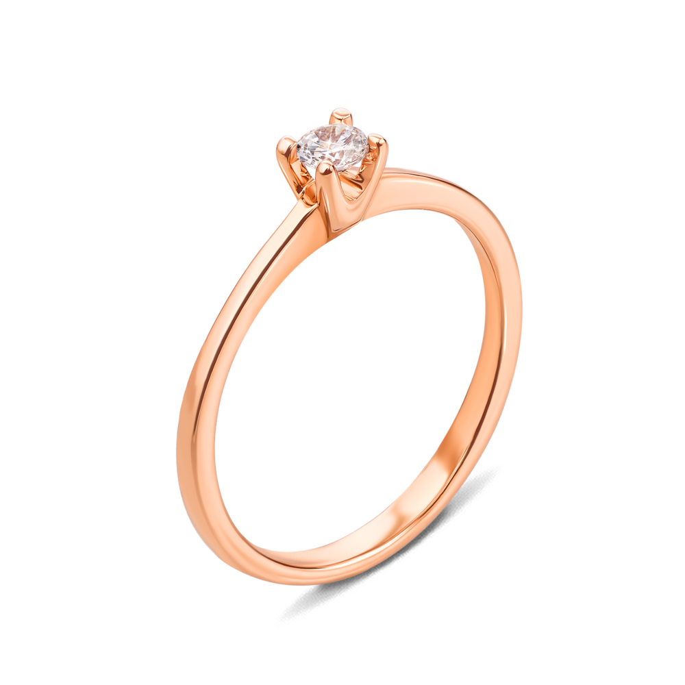 Золотое кольцо с фианитом. Артикул 12298 с