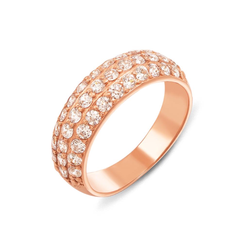 Золотое кольцо с фианитами. Артикул 12301 с