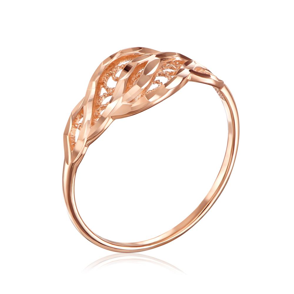 Золотое кольцо с алмазной гранью. Артикул 12305