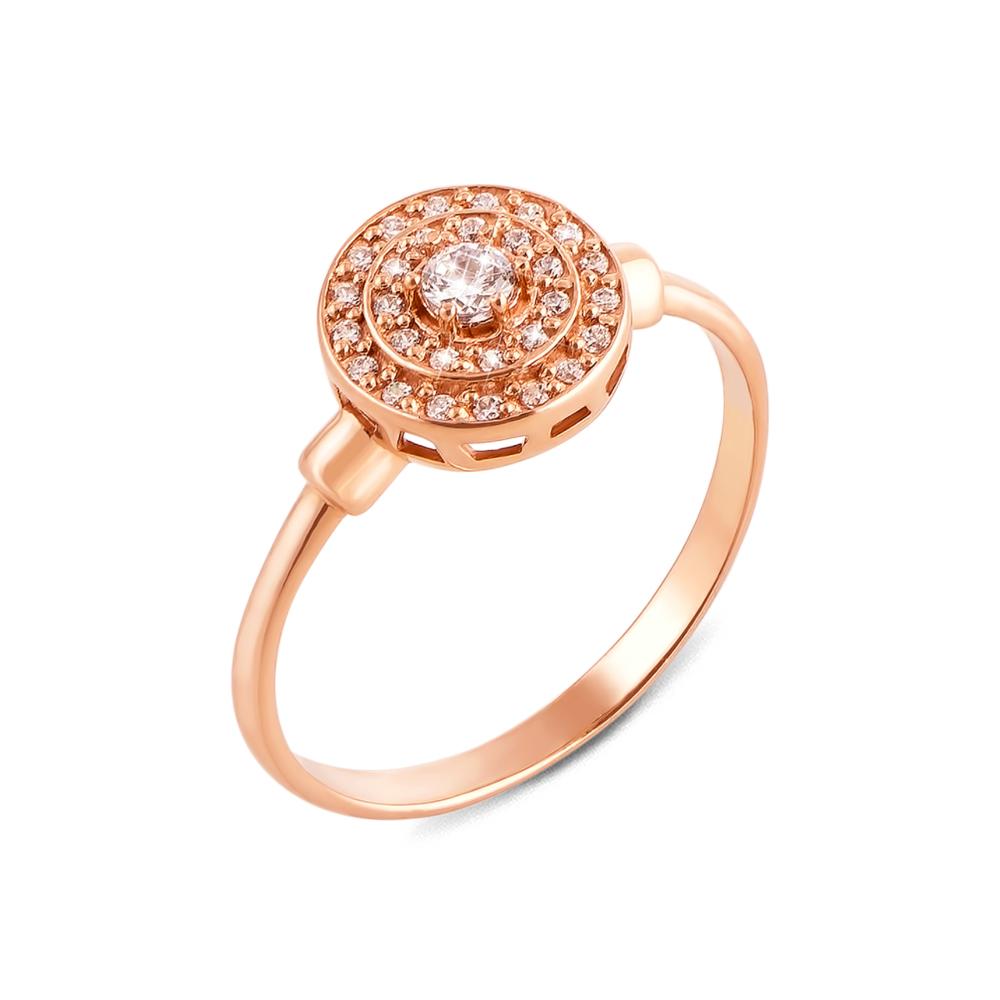 Золотое кольцо с фианитами. Артикул 12306