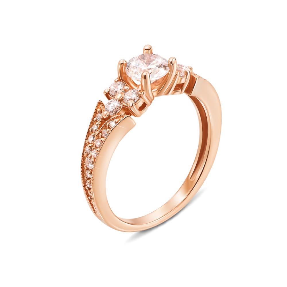 Золотое кольцо с фианитами. Артикул 12309