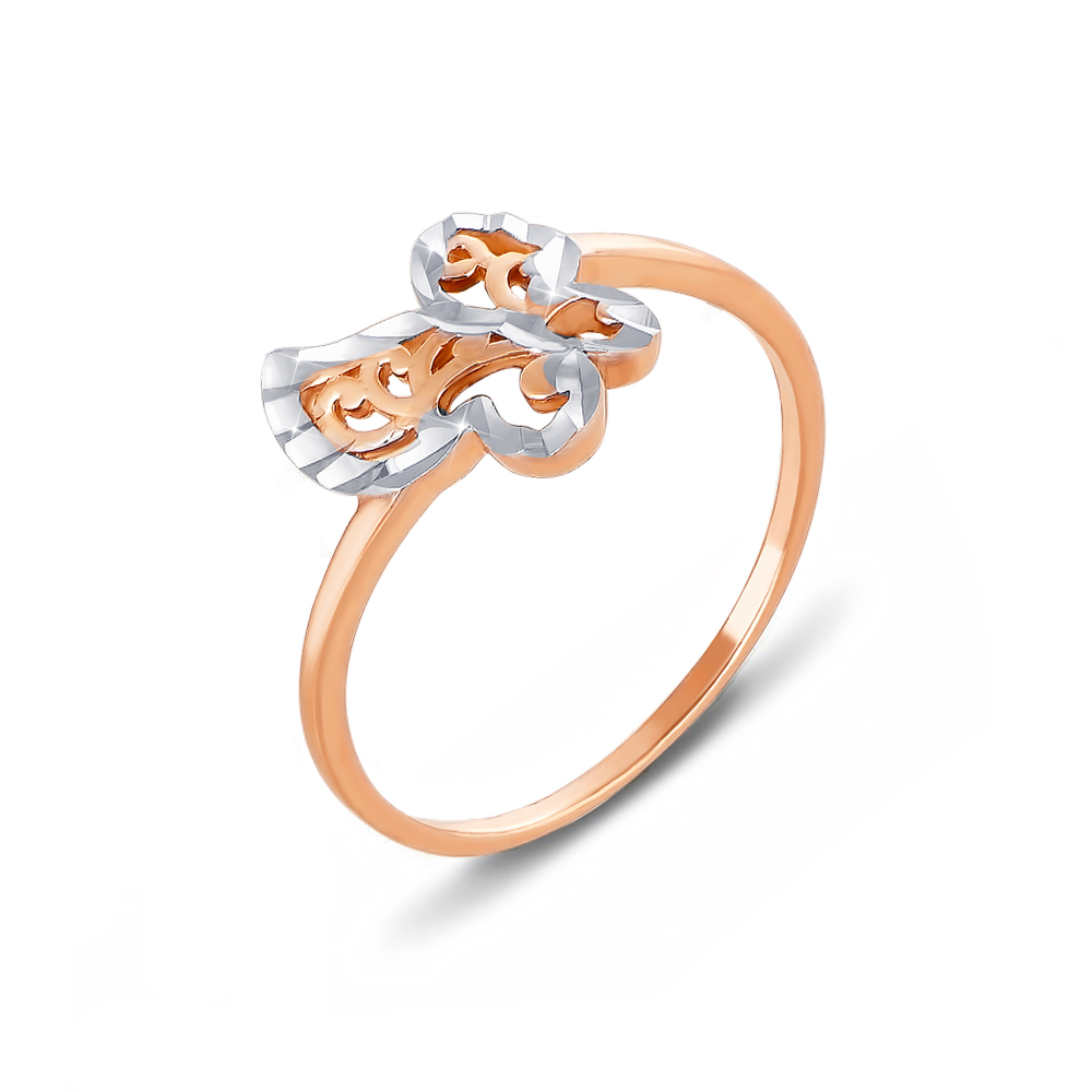 Золотое кольцо с алмазной гранью. Артикул 12338