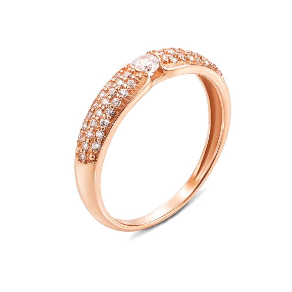 Золотое кольцо с фианитами. Артикул 12350