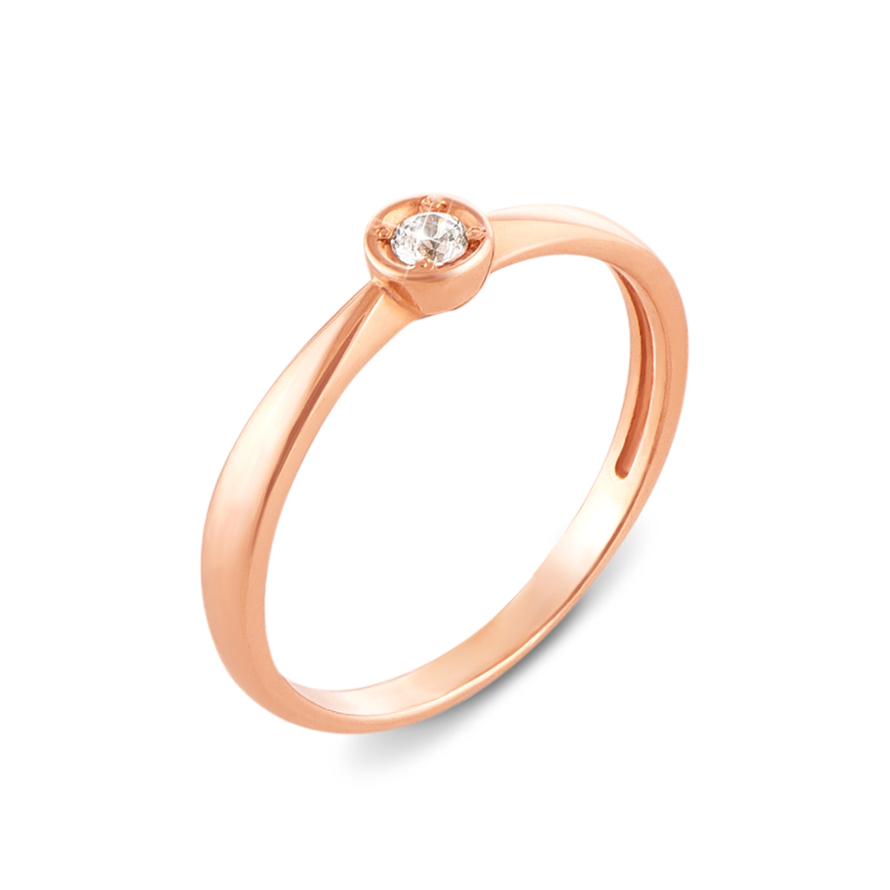 Золотое кольцо с фианитом. Артикул 12353