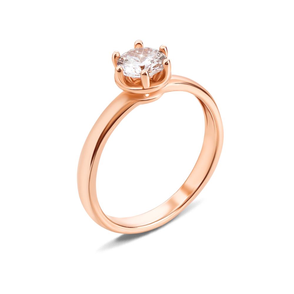 Золотое кольцо с фианитом. Артикул 12363