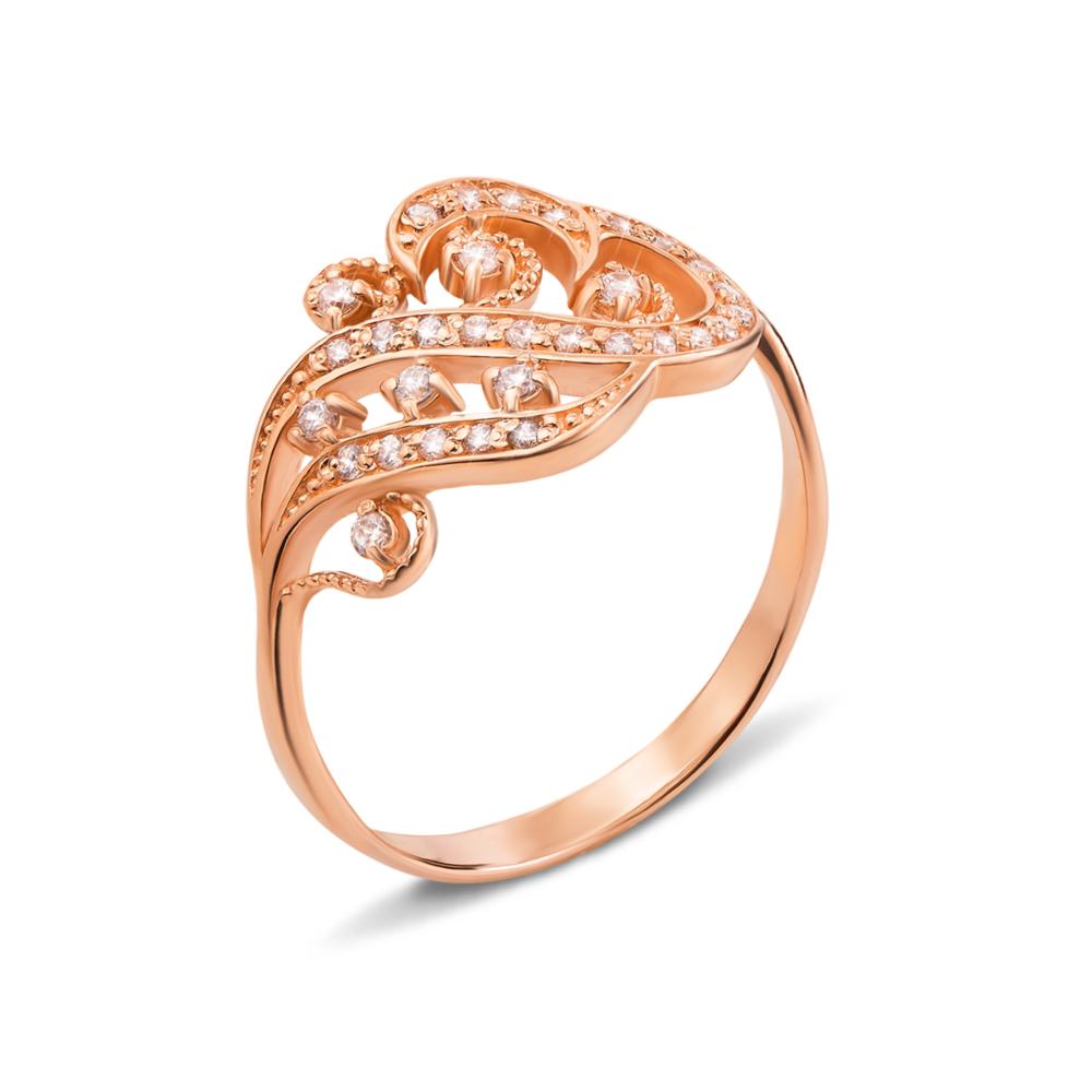 Золотое кольцо с фианитами. Артикул 12383