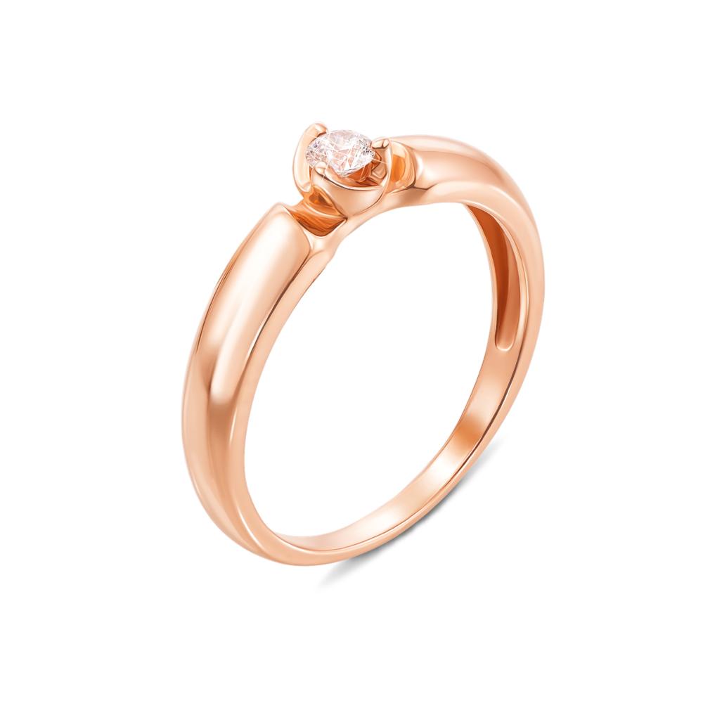 Золотое кольцо с фианитом. Артикул 12387