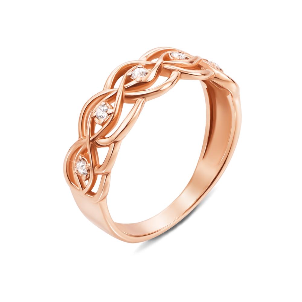 Золотое кольцо с фианитами. Артикул 12391 с
