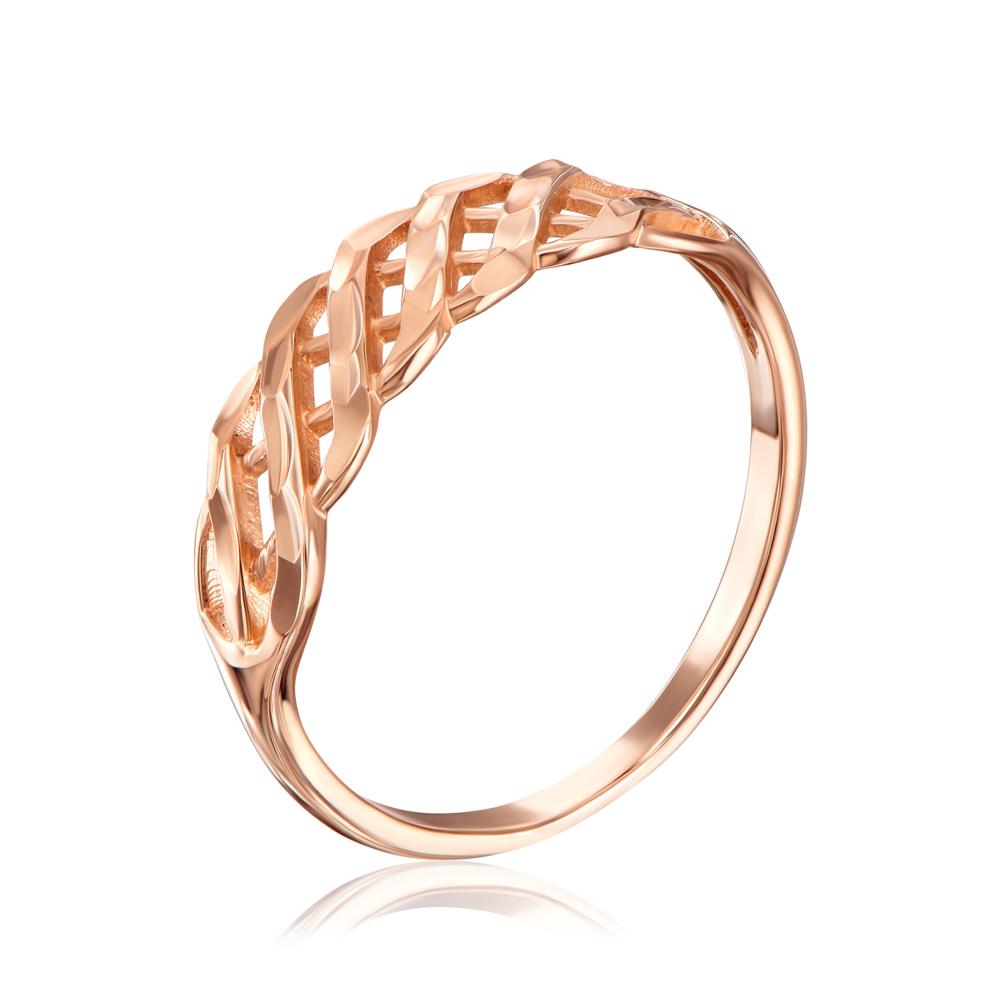 Золотое кольцо с алмазной гранью. Артикул 12393 с