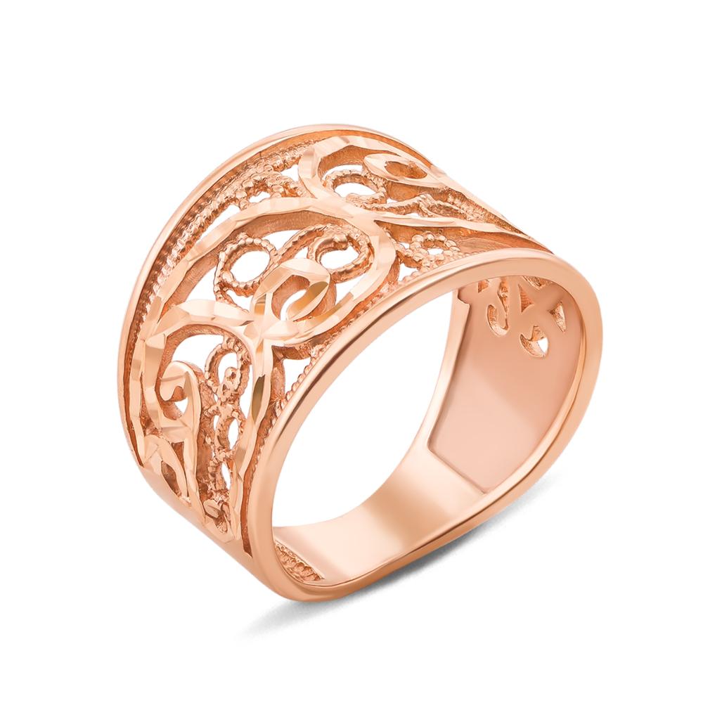 Золота каблучка з алмазною гранню. Артикул 12422 с