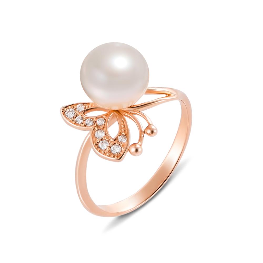 Золотое кольцо с жемчугом и фианитами. Артикул 12423 сп