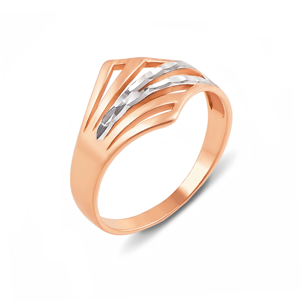 Золота каблучка з алмазною гранню. Артикул 12424