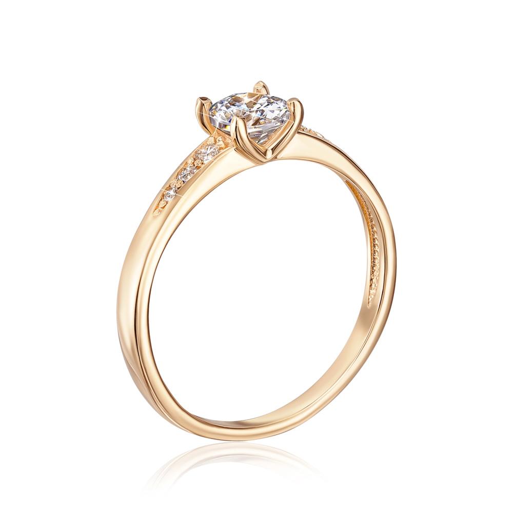 Золотое кольцо с фианитами. Артикул 12426/eu