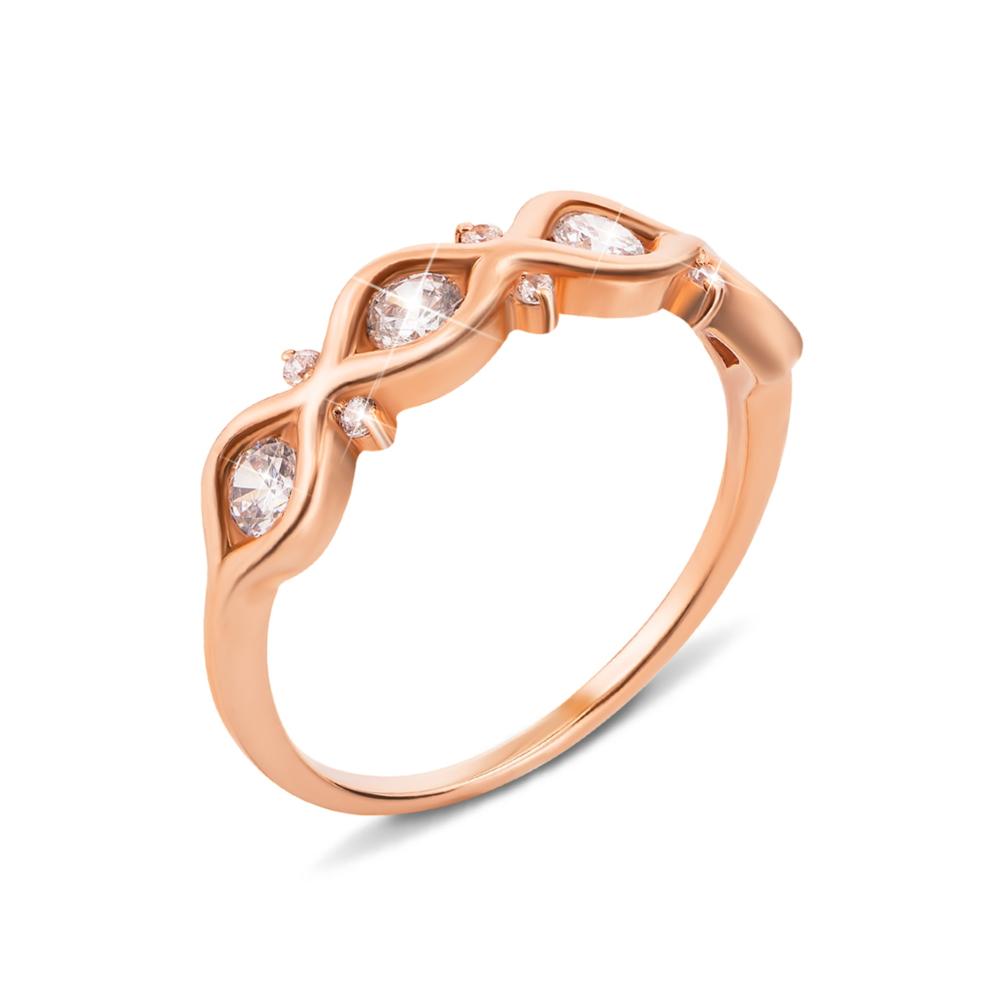 Золотое кольцо с фианитами. Артикул 12417