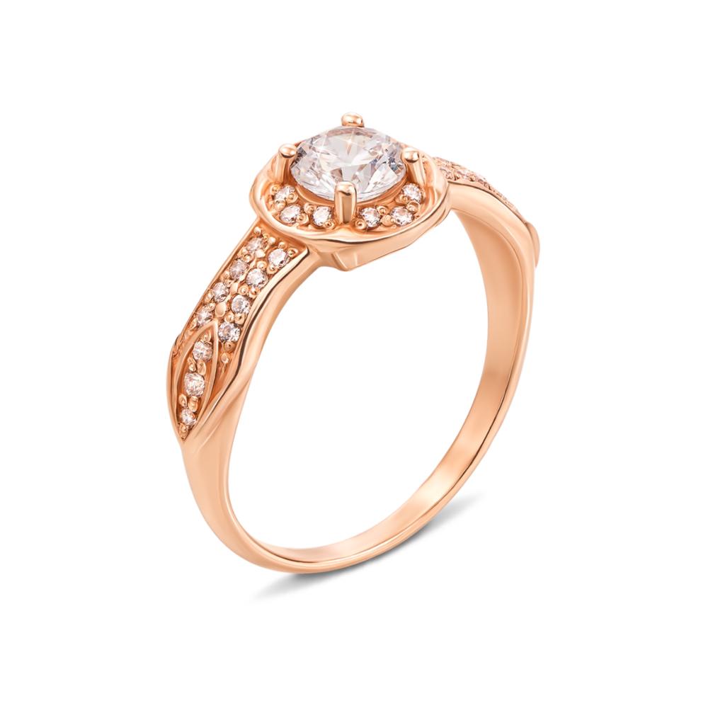 Золотое кольцо с фианитами. Артикул 12448