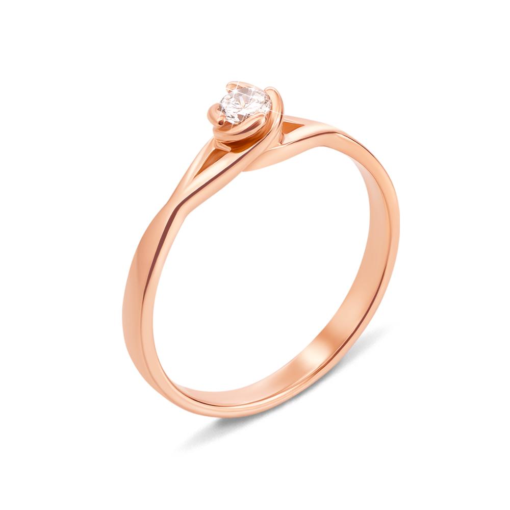 Золотое кольцо с фианитом. Артикул 12464