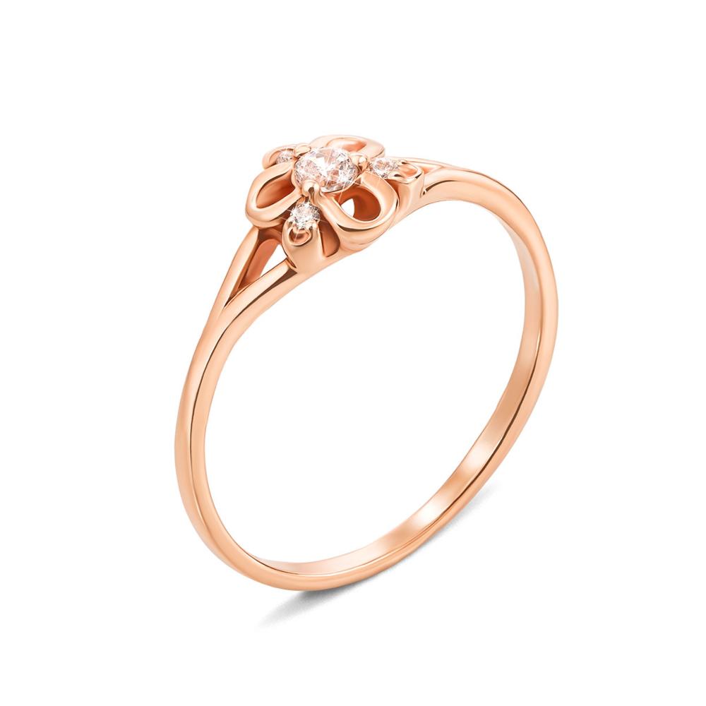 Золотое кольцо с фианитами. Артикул 12468 с