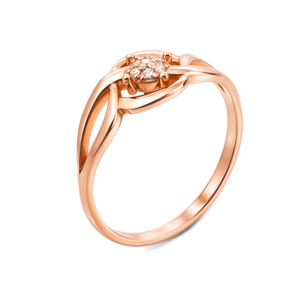 Золотое кольцо с фианитами. Артикул 12506 с