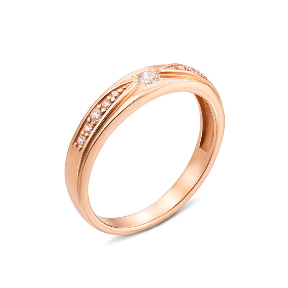 Золота каблучка з фіанітами. Артикул 12508