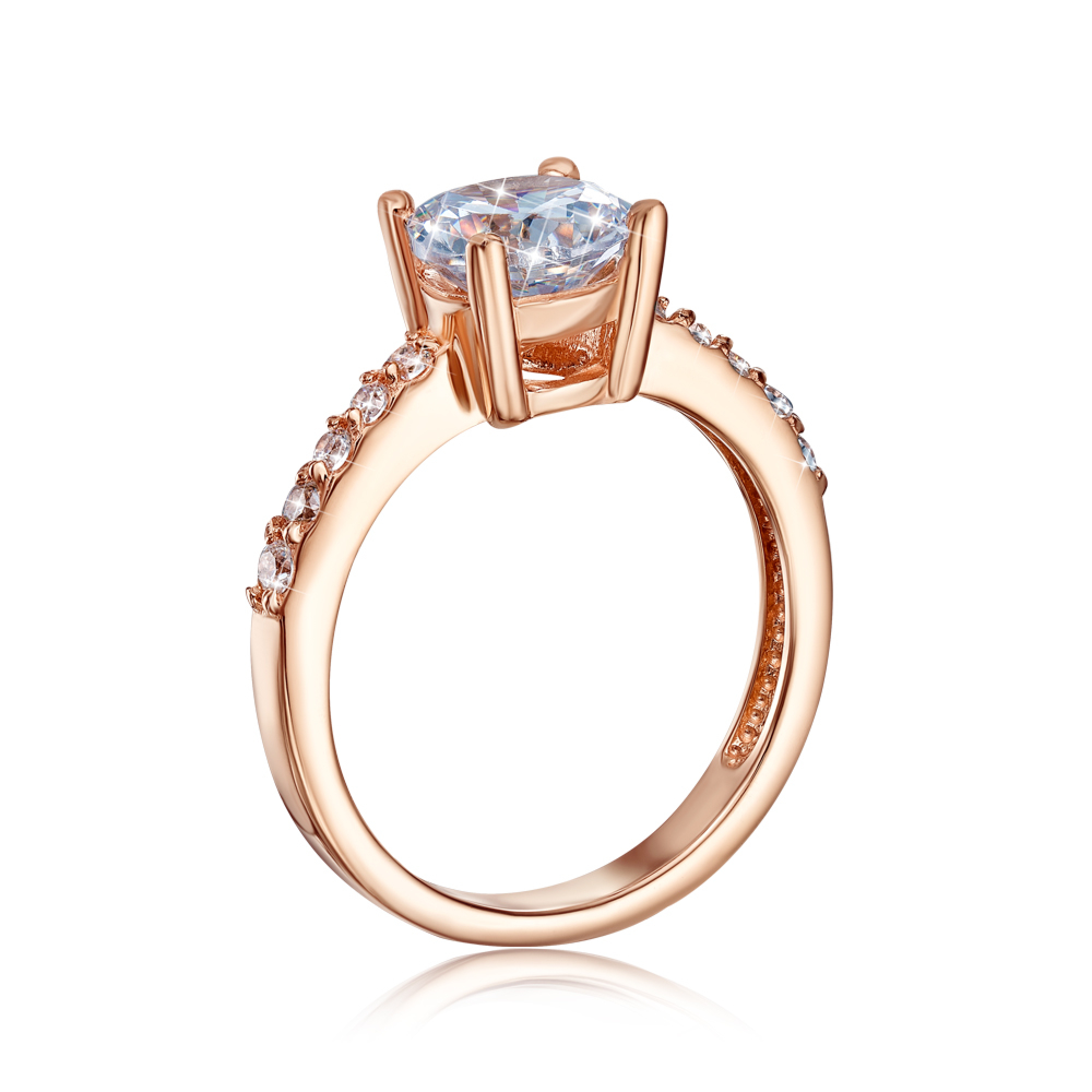 Золотое кольцо с фианитами. Артикул 12511