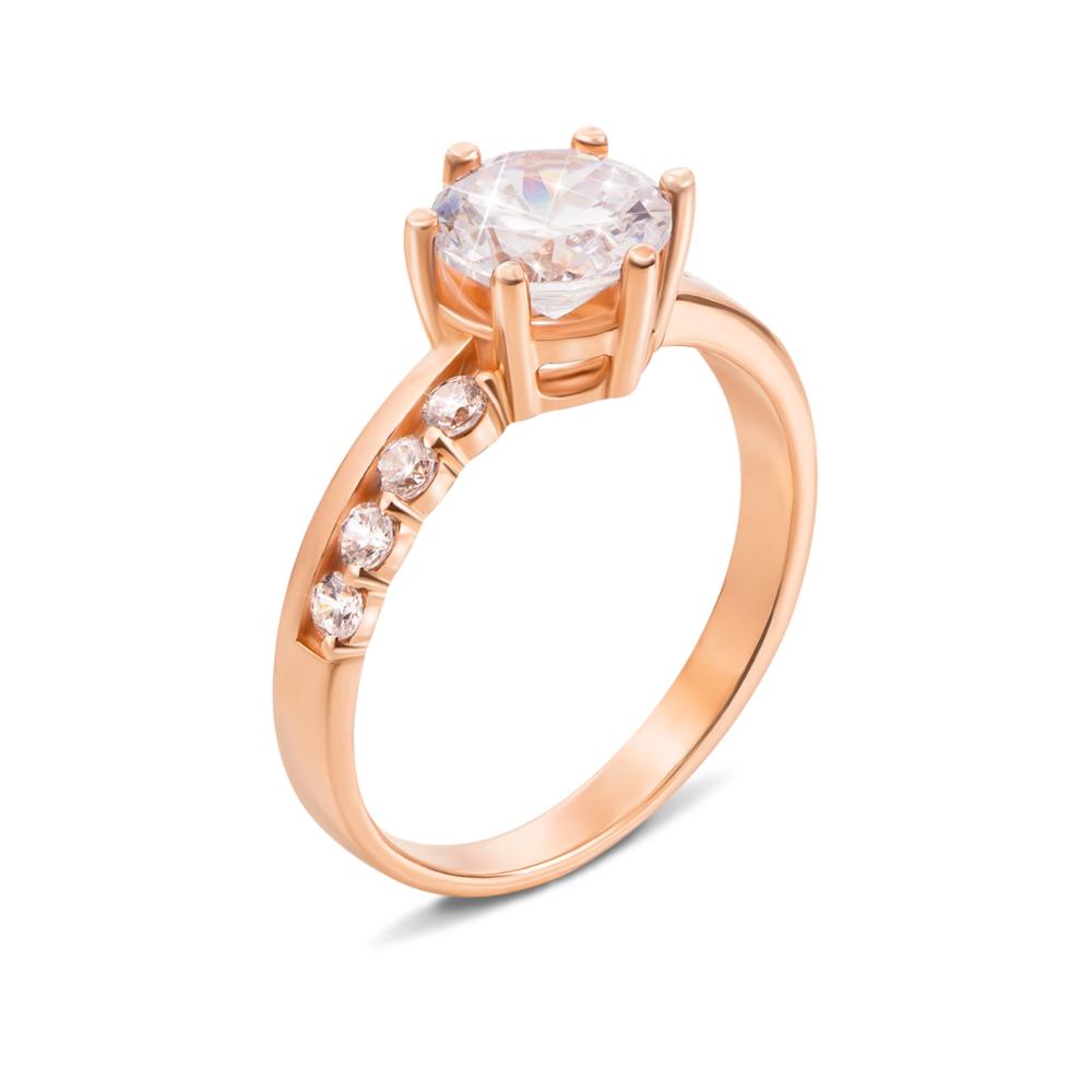 Золотое кольцо с фианитами. Артикул 12512